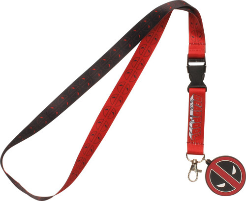 Deadpool All Over Name Logo Charm Lanyard