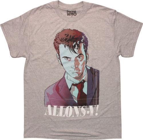 Doctor Who Watercolor 10th Doctor Allons-Y T-Shirt