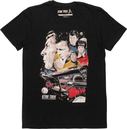 Star Trek Crew and NCC-1701 Enterprise T-Shirt