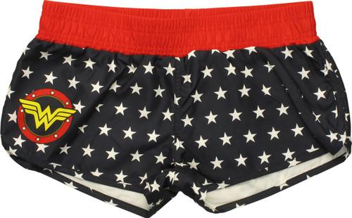 Wonder Woman Logo and Stars Ladies Boardshorts