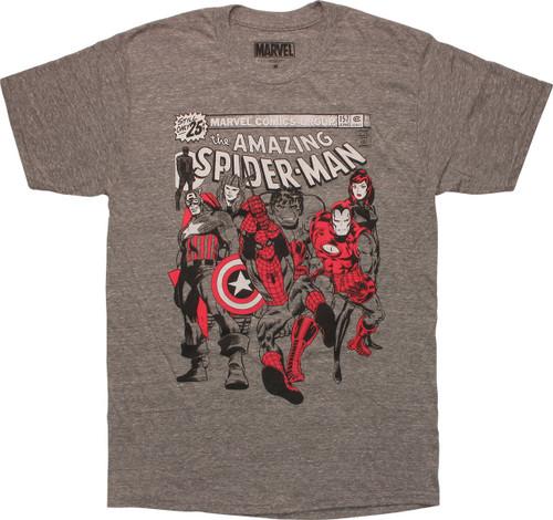 Amazing Spiderman Avengers group T-Shirt Sheer