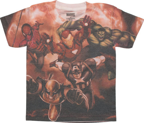 Avengers Heroes In Action Sublimated Youth T-Shirt