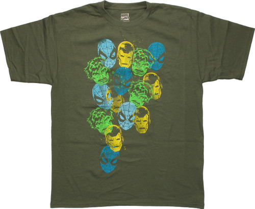 Avengers Stamped Heads Green Youth T-Shirt