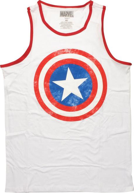 Captain America Distressed Logo Ringer Tank Top