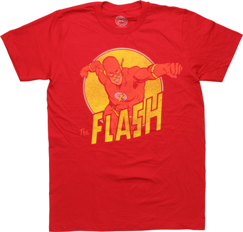 Flash and Name in Yellow Circle T-Shirt