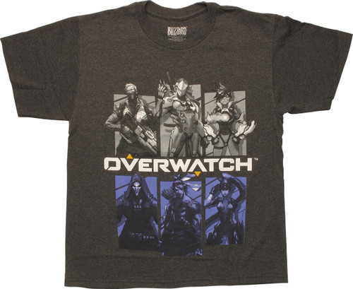 Overwatch Word Six Character Panels Youth T-Shirt
