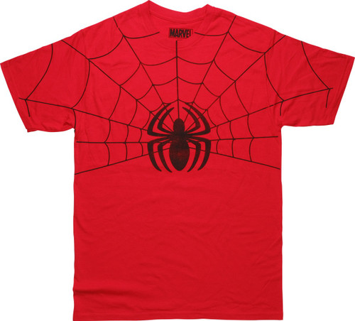 Spiderman Half Web Spider Logo Distressed T-Shirt