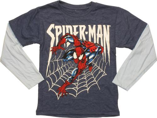Spiderman Web Cling LS Blue Juvenile T-Shirt
