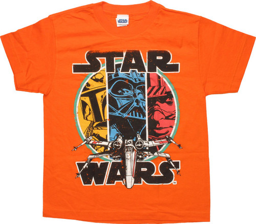 Star Wars 3 Characters X-Wing Orange Youth T-Shirt