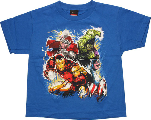 Avengers Blast Glow in Dark Blue Juvenile T-Shirt