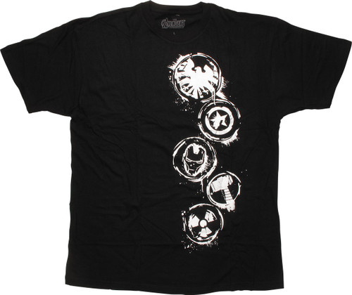 Avengers White Stamp Circle Logos T-Shirt