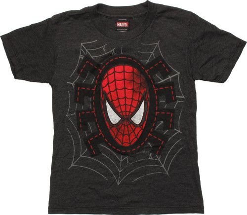 Spiderman Mask Stitch Spider Logo Juvenile T-Shirt
