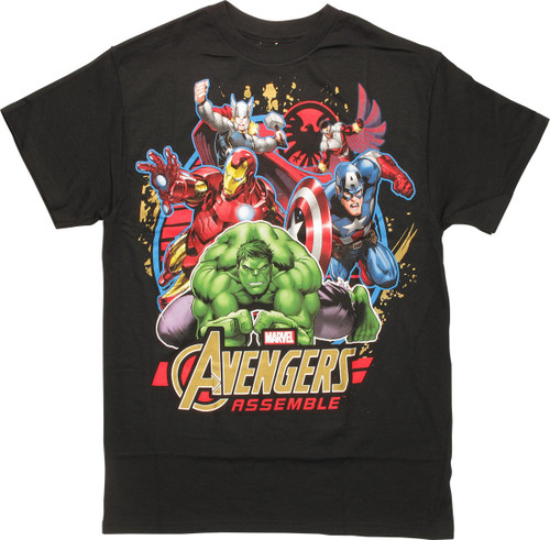 Avengers Assemble in Action Black T-Shirt