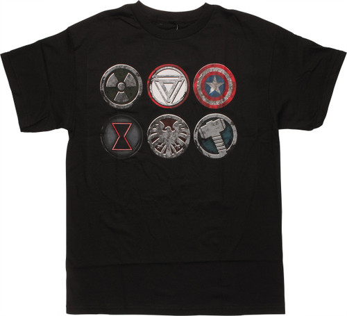 Avengers Six Distressed Heroes Logos T-Shirt