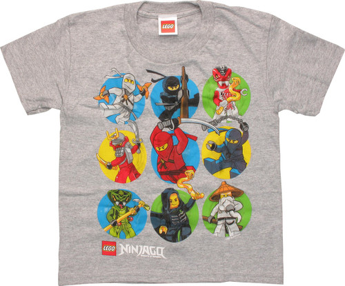 Lego Ninjago Characters Circles Juvenile T-Shirt