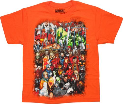 Marvel Group Shot Orange Youth T-Shirt
