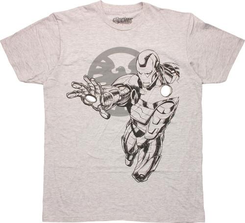 Marvel SHIELD Logo Iron Man T-Shirt Sheer
