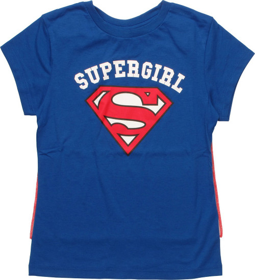 Supergirl Name Over Logo Caped Youth Girls T-Shirt
