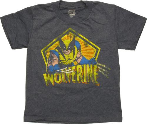 X Men Wolverine Pentagon Distress Juvenile T-Shirt