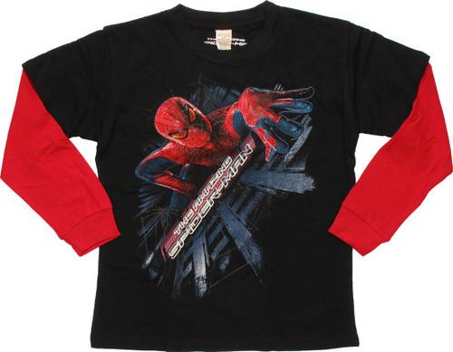 Amazing Spiderman Wall Climb LS Youth T-Shirt