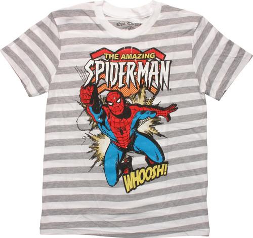 Amazing Spiderman Whoosh Gray Striped Youth Shirt