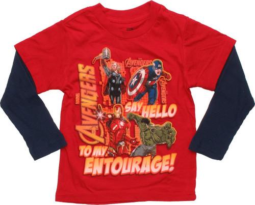 Avengers Say Hello to Entourage LS Toddler T-Shirt