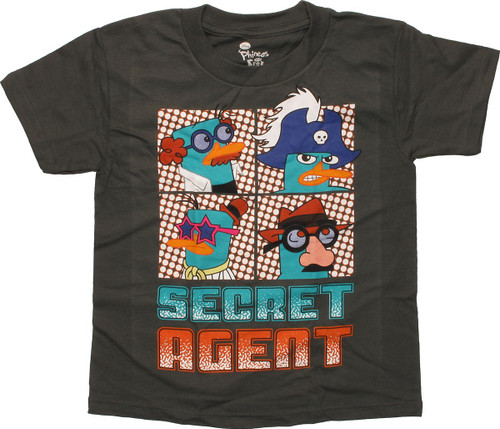 Phineas and Ferb Secret Agent Olive Green Juvenile T-Shirt