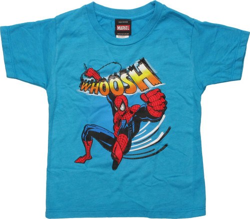Spiderman Woosh Swinging Teal Toddler T-Shirt
