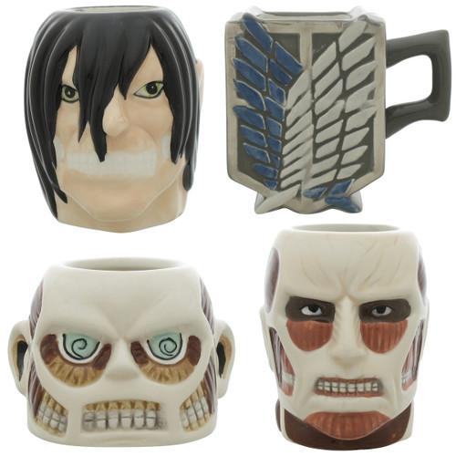 Attack on Titan Four Mini Molded Mug Set