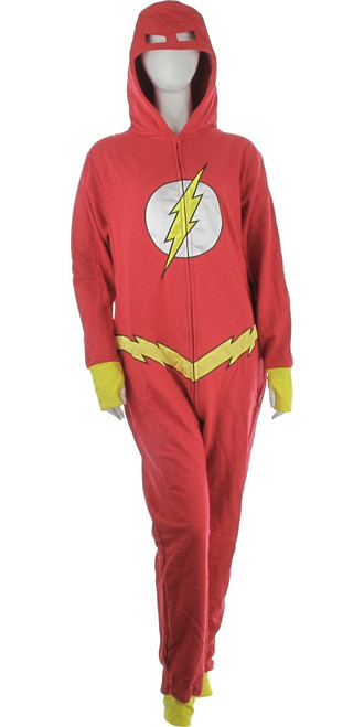 Flash with Bolt Belt Costume Hooded Union Suit