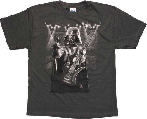 Star Wars Vader Playing Guitar Charcoal Youth T-Shirt