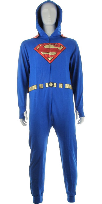 Superman Foiled Logo Hooded Costume Union Suit