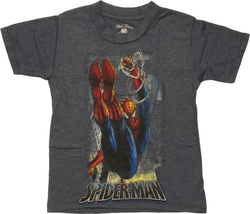 Spiderman Swings Through City Navy Juvenile Shirt