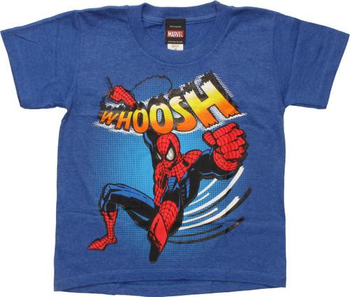 Spiderman Whoosh Swinging Blue Juvenile T-Shirt