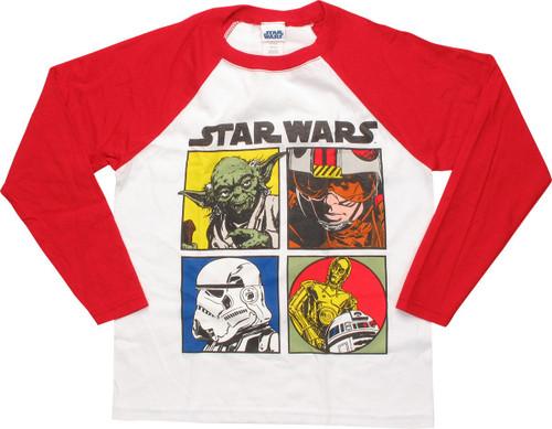 Star Wars ESB Squares Red Raglan Juvenile T-Shirt