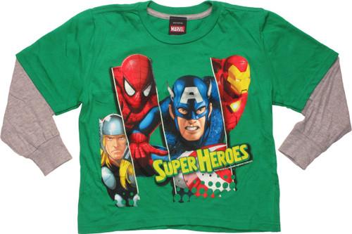 Avengers Super Heroes Long Sleeve Youth T-Shirt