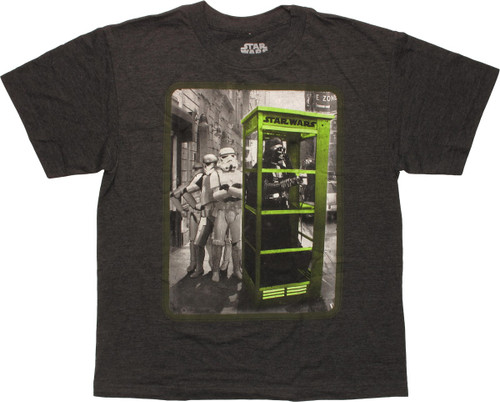 Star Wars Vader in Green Phone Booth Youth T-Shirt