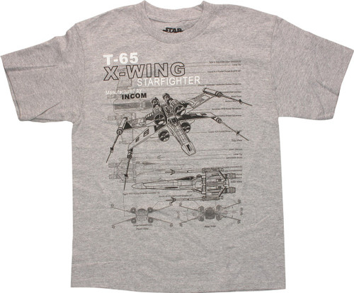 Star Wars X-Wing Starfighter Diagram Youth T-Shirt
