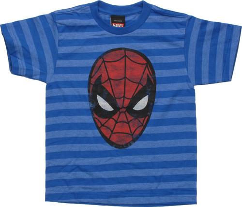 Spiderman Faded Mask On Stripes Juvenile T-Shirt