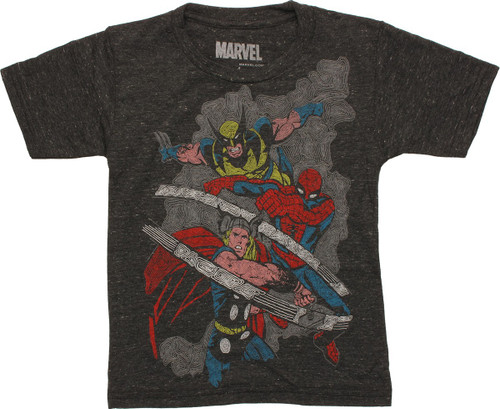 Marvel Hero Trio In Action Juvenile T-Shirt