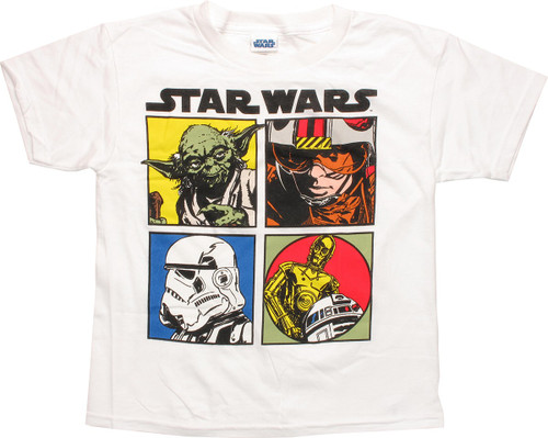 Star Wars ESB Squares White Juvenile T-Shirt