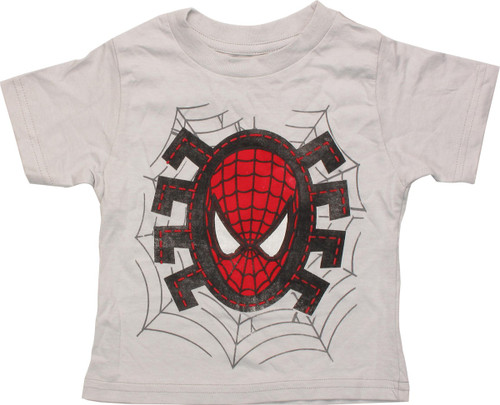 Spiderman Head Stitches Silver Infant T-Shirt