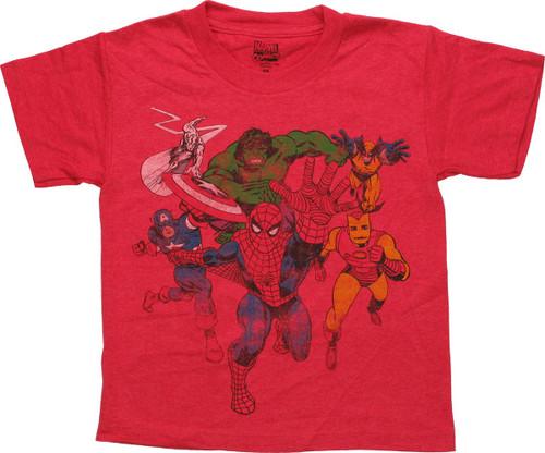 Marvel Hero Group Coming At You Juvenile T-Shirt