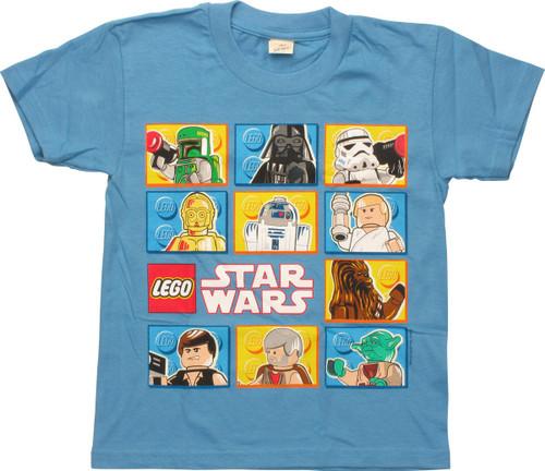 Star Wars Lego Cast Blocks Lt Blue Youth T-Shirt
