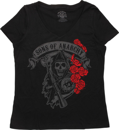 Sons Of Anarchy Grim Reaper With Roses Ladies Tee