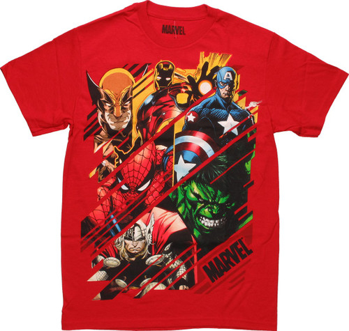 Marvel Super Heroes Lined Box Red T-Shirt