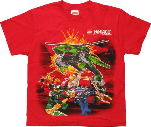 Lego Ninjago Fight Scene Red Youth T-Shirt