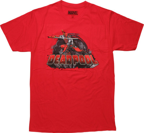 Deadpool Crouch With Sword Over Name T-Shirt