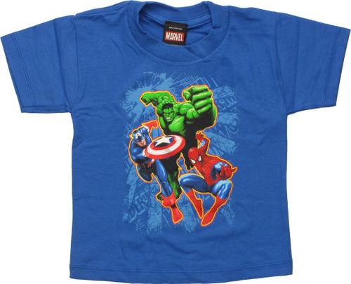 Avengers Capt America Hulk & Spidey Toddler Shirt