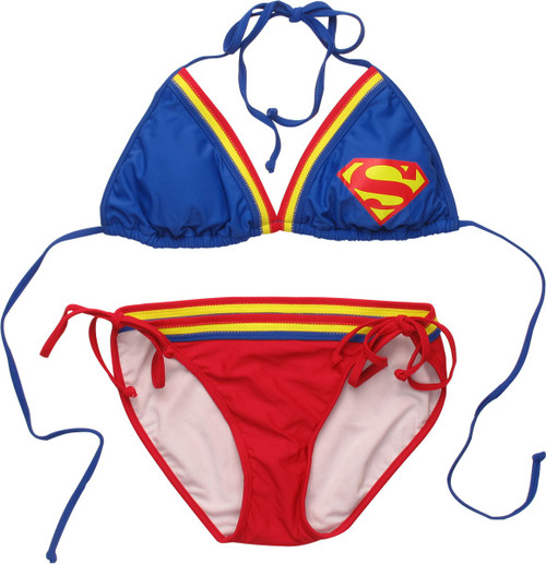 Superman Logo Triangle String Bikini Swimsuit